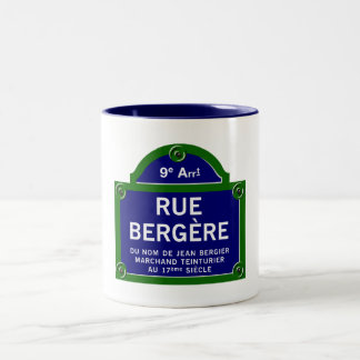 Rue Bergere, Paris Street Sign Two-Tone Coffee Mug