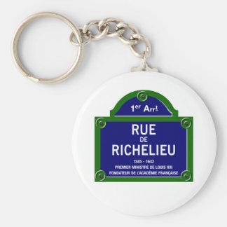 Rue de Richelieu, Paris Street Sign Basic Round Button Keychain