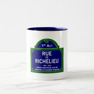 Rue de Richelieu, placa de calle de París Taza Dos Tonos