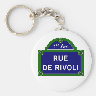 Rue de Rivoli, Paris Street Sign Basic Round Button Keychain