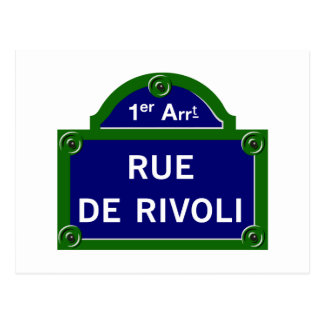 Rue de Rivoli, Paris Street Sign Postcard