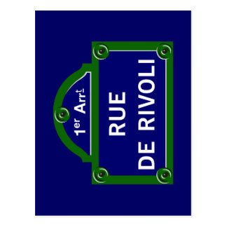 Rue de Rivoli, Paris Street Sign Postcard