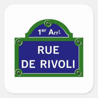 Rue de Rivoli, Paris Street Sign Square Sticker