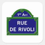 Rue de Rivoli, placa de calle de París Calcomania Cuadradas