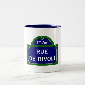 Rue de Rivoli, placa de calle de París Taza Dos Tonos
