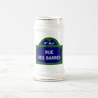 Rue des Barres, Paris Street Sign 18 Oz Beer Stein