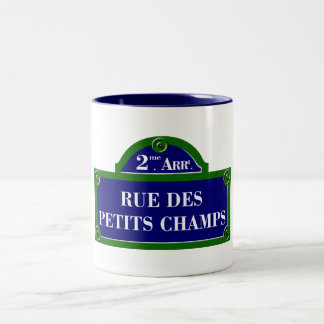 Rue des Petits Champs, Paris Street Sign Two-Tone Coffee Mug