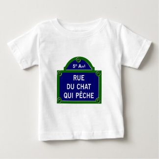Rue du Chat qui Peche, Paris Street Sign Baby T-Shirt