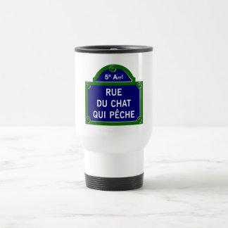 Rue du Chat qui Peche, Paris Street Sign 15 Oz Stainless Steel Travel Mug