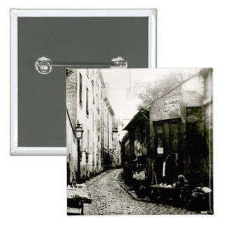 Rue du Jardinet y el callejón sin salida Pin Cuadrada 5 Cm