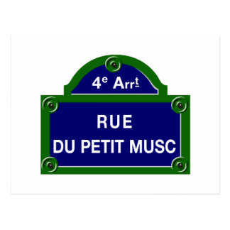 Rue du Petit Musc, Paris Street Sign Postcard