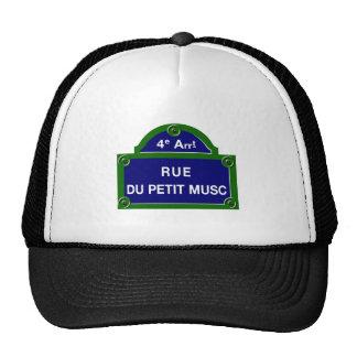 Rue du Petit Musc, placa de calle de París Gorros Bordados