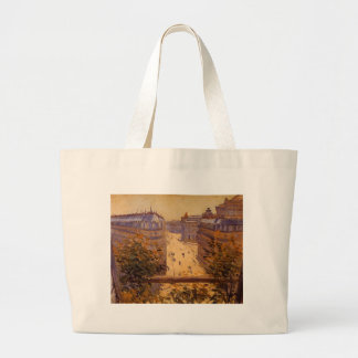 Rue Halevy, Balcony View by Gustave Caillebotte Large Tote Bag