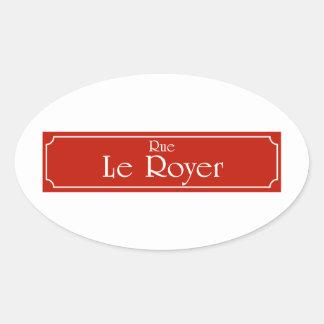 Rue Le Royer, placa de calle de Montreal Pegatina Ovalada