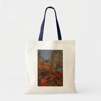 Rue Montorgueil Decked Out w Flags by Claude Monet Bag