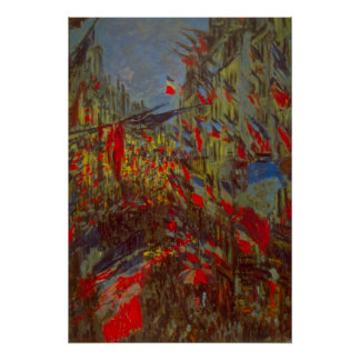Rue Montorgueil Decked Out w Flags by Claude Monet Poster