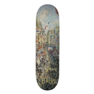 Rue Montorgueil in Paris by Claude Monet Skateboard Deck