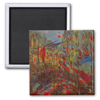 Rue Montorgueil with Flags by Claude Monet 2 Inch Square Magnet