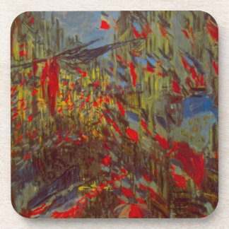 Rue Montorgueil with Flags by Claude Monet Beverage Coaster