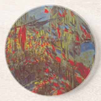 Rue Montorgueil with Flags by Claude Monet Coaster