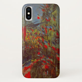 Rue Montorgueil with Flags by Claude Monet iPhone X Case