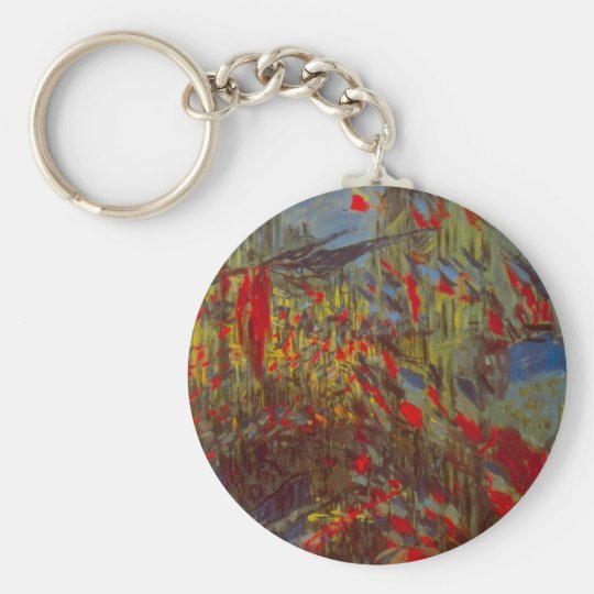 Rue Montorgueil with Flags by Claude Monet Keychain