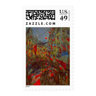 Rue Montorgueil with Flags by Claude Monet Postage Stamp