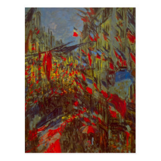 Rue Montorgueil with Flags by Claude Monet Postcard