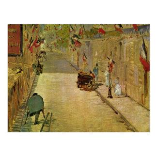 Rue Mosnier mit Fahnen - Edouard Manet Postcard
