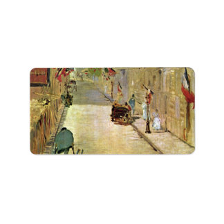Rue Mosnier with Flags by Edouard Manet Label