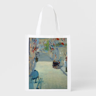 Rue Mosnier with Flags Manet Fine Art Painting Grocery Bags