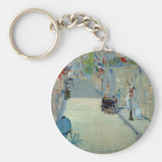 Rue Mosnier with Flags Manet Painting Keychain