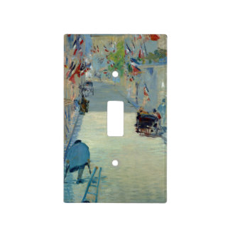 Rue Mosnier with Flags Manet Painting Switch Cover