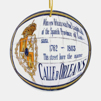 Rue Orleans Tile Mural Double-Sided Ceramic Round Christmas Ornament