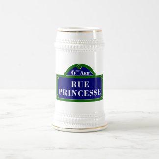 Rue Princesse, Paris Street Sign 18 Oz Beer Stein
