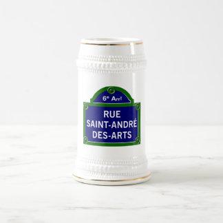 Rue Saint-Andre des Arts, Paris Street Sign 18 Oz Beer Stein