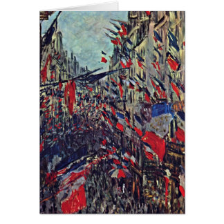 Rue Saint-Denis On National Day By Claude Monet Greeting Cards