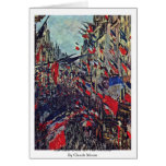 Rue Saint-Denis On The National By Claude Monet Greeting Cards