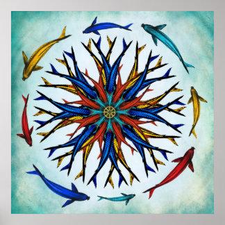 Rueda abstracta colorida de Koi Dharma Póster
