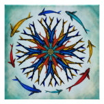 Rueda abstracta colorida de Koi Dharma Posters