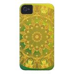Rueda abstracta de color verde amarillo de la mand iPhone 4 protector