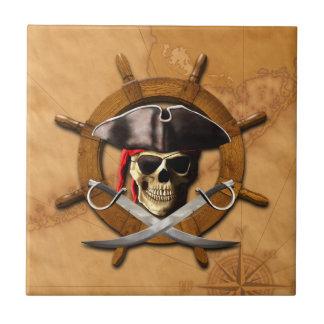 Rueda alegre del pirata de Rogelio Azulejo Cuadrado Pequeño