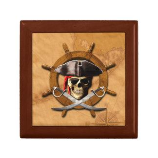 Rueda alegre del pirata de Rogelio Caja De Regalo Cuadrada Pequeña