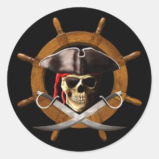 Rueda alegre del pirata de Rogelio Pegatina Redonda