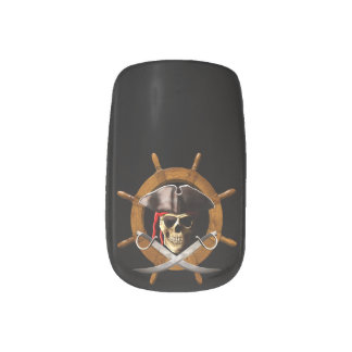 Rueda alegre del pirata de Rogelio Stickers Para Manicura