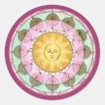 Rueda astrológica con Sun Etiqueta Redonda