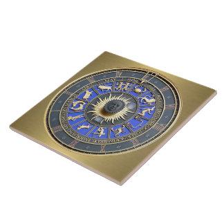 Rueda azul del zodiaco azulejo cuadrado grande