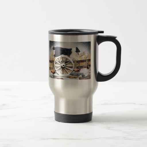 Rueda de carro de salto del border collie tazas de café