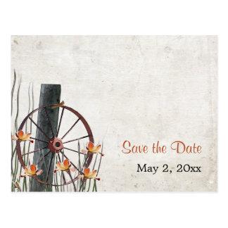 Rueda de carro del país - ahorre la fecha tarjetas postales