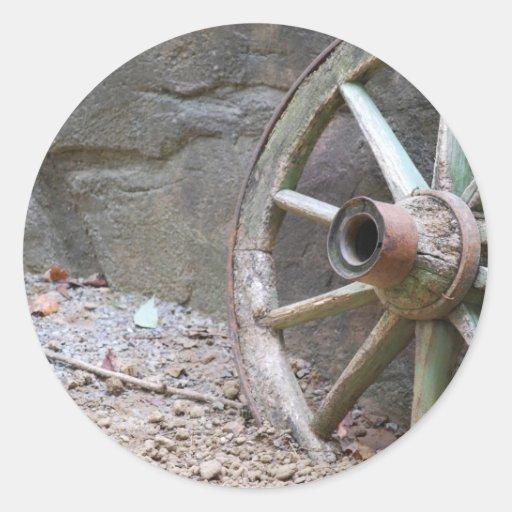 rueda de carro occidental pegatina redonda